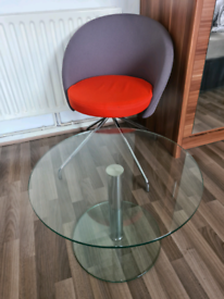 Coffee table and fabric chair