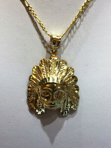 10K GOLD 22 INCHES CHAIN WITH 1.5 INCHES INDIAN HEAD PENDANT