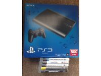 500GB Super Slim PS3 with Box and 5 games including GTA V