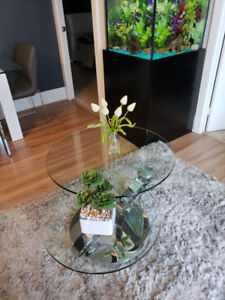 Modern Tempered Glass stainless steel 360 coffee table