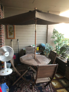 outdoor wood,teak, folding patio table  chairs  and umbrella