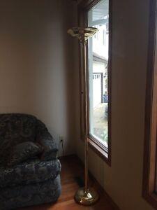 Golden brass finish floor lamp