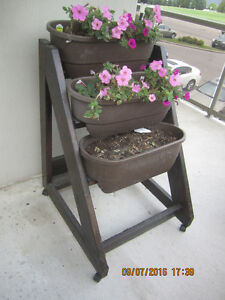 Rustic 3 Teired Plant stand on wheels