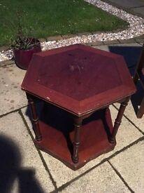 Antique hexagon side table