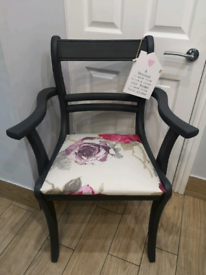 BEAUTIFUL SHABBY CHIC SLATE GREY SOLID WOOD CARVER CHAIR