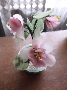 Collectible Antique Vintage Asian Jade Glass Floral Bonsai Trees
