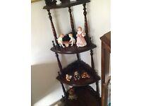 Four tier mahogany corner display shelves