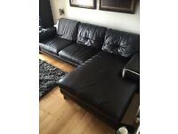 Modern black genuine leather L couch