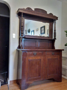 Antique Sideboard with Original Mirror & Finish
