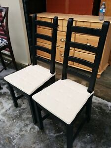 Two Black Solid Wood Ladder Accent Chairs
