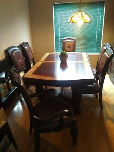 9 piece solid wood dining set