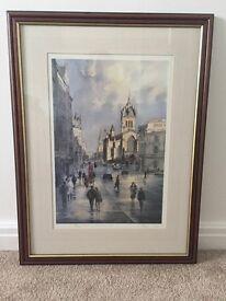 Alan Reed limited edition framed copy of edinburgh street scene
