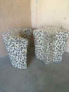 Retro 60's Moon and Star Leopard Fabric Footstools