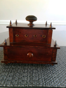 1800s Wooden Sewing Box-Beautiful old piece