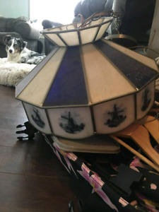 Antique stain glass Holland ceiling lamp