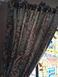 """2 curtain panels  84"""" length - Mocha and teal Damask type print"""