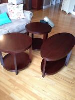 Pier 1 coffee table and 2 matching end tables