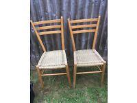 Pair Vintage Chairs Kitchen Dining Rattan