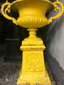 Antique Double handled Cast Iron urn and Pedestal -Free Delivery