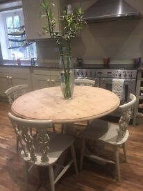 Pine table and Ercol Fleur De Lys chairs