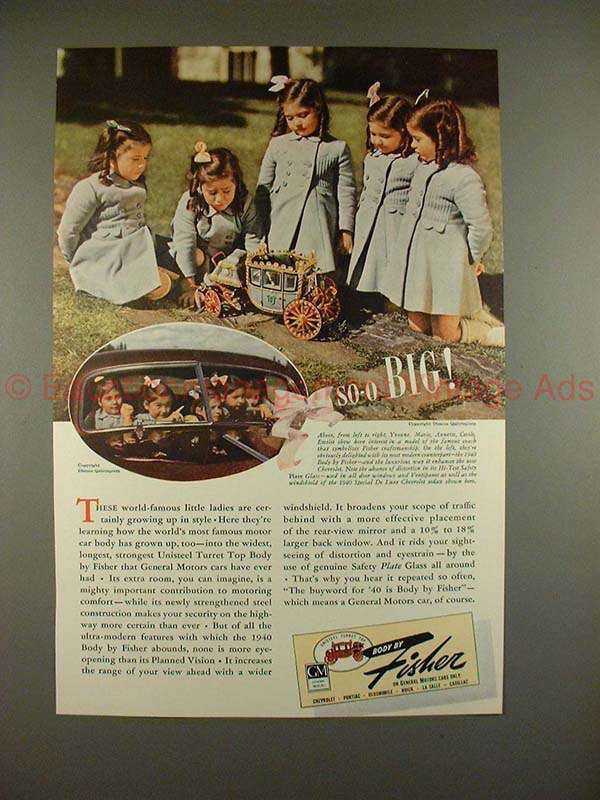 1940 Body by Fisher Car Ad w/ The Dionne Quintuplets!!