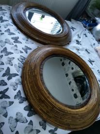 Bamboo circle mirror