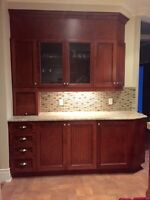 Read wood kitchen cabinets and granite