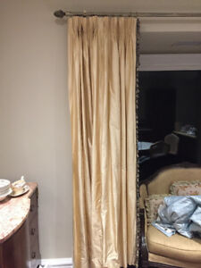 Silk gold drapes (curtains) with tassle trim (2 panels)