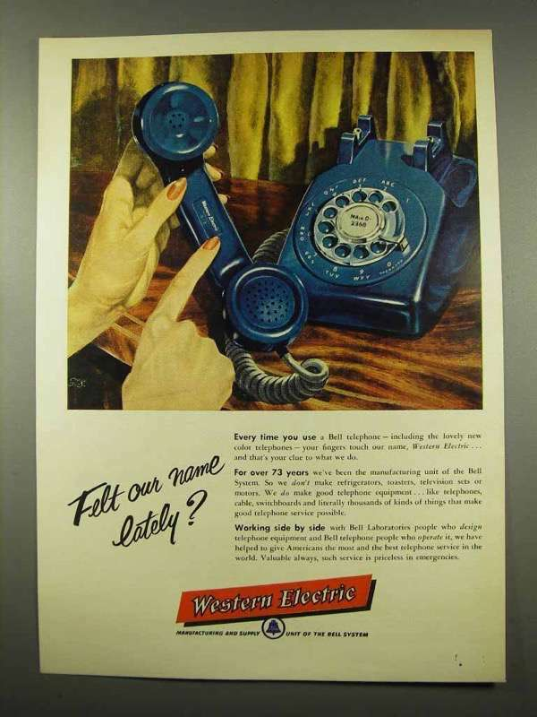 1956 Western Electric Telephone Ad - Felt Our Name?