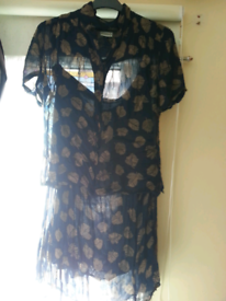 Good condition narvy and brown skirt and blouse 14.