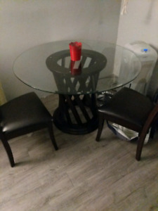 Glass Table with 2 Dining Room Chairs