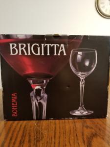 Set of 6 Bohemian Beaujolais wine glasses / water goblets