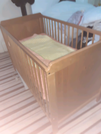 Baby cot with bed cover mattress and blanket