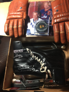 BOBBY HULL Ultimate Package Autographed Skates Gloves Puck Photo