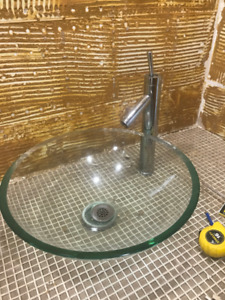 GLASS SINKS & FAUCET *GREAT CONDITION