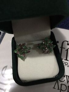 HAND CRAFTED EMERALD, RUBY EARINGS SET IN 925 SILVER