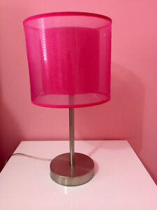 2 HOT PINK/ STAINLESS STEEL TABLE LAMPS AND MORE