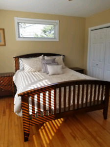 Queen size bed solid cherry wood set