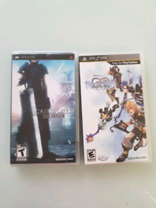 Psp games - ff7 crisis core, Kingdom hearts birth by sleep