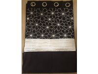 Black Curtains with Flower detail at the top - Excellent Condition
