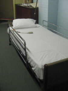 HOSPITAL BED, COMPLETE WITH MATTRESS AND RAILS