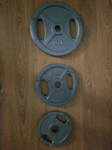 Cast Iron Grip Olympic Plates 45 lb, 35 lb and 25 lb