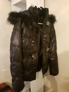 Brand new goose jacket real fox fur xs