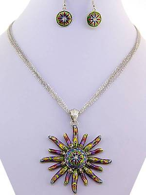 Sun charm pendant crystal rhinestone silver earring necklace set bridal jewelry