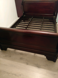 Sleigh Bed Mahogany Double with Mattress