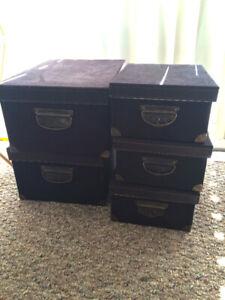 5 storage boxes w/ lids - 2 medium 3 small - black