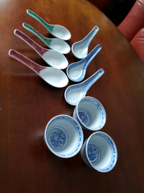 3 small Chinese bowls and 7 spoons