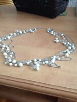 """34""""long 4 layers 2 are white beaded with Diamond like beads"""
