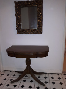 DUNCAN PHYFE SWIVEL TILT TOP GAMES TABLE  GILTED CARVED MIRROR