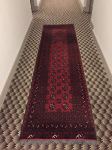 "Bukhara Afghan Runner 112"" x 31""  - 100 % hand knitted of wool"
